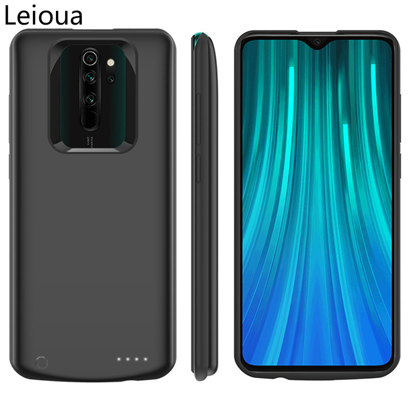 Leioua 6500mAh Silicone Shockproof battery charger case For Xiaomi note 8 8Pro battery External Cover Backup power bank case