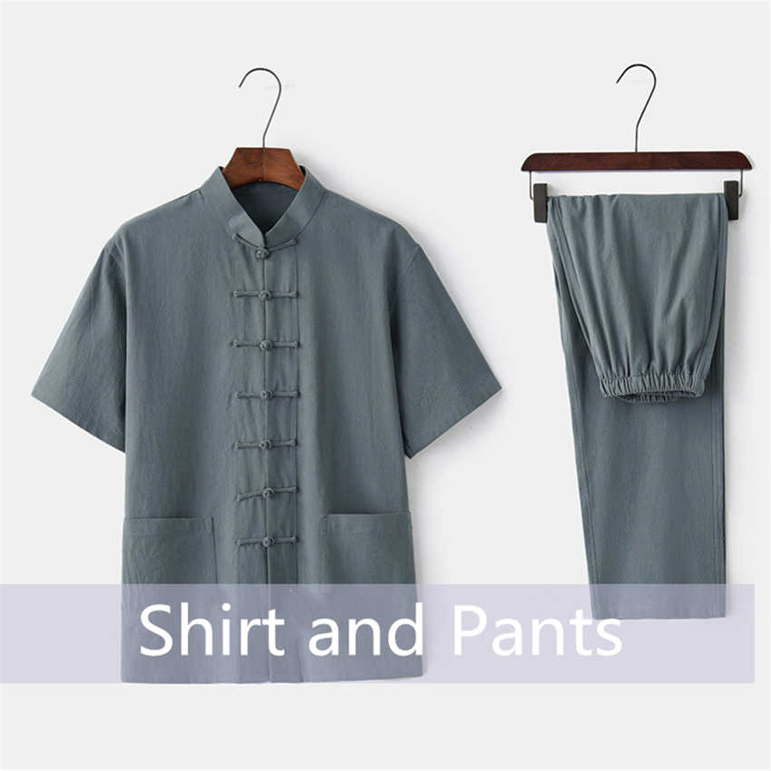 Chinese Traditionele Kleding Set Man Zomer Linnen Gesp Kung Fu Shirt Oosterse Retro Top Broek Tai Chi Ademend Uniformen