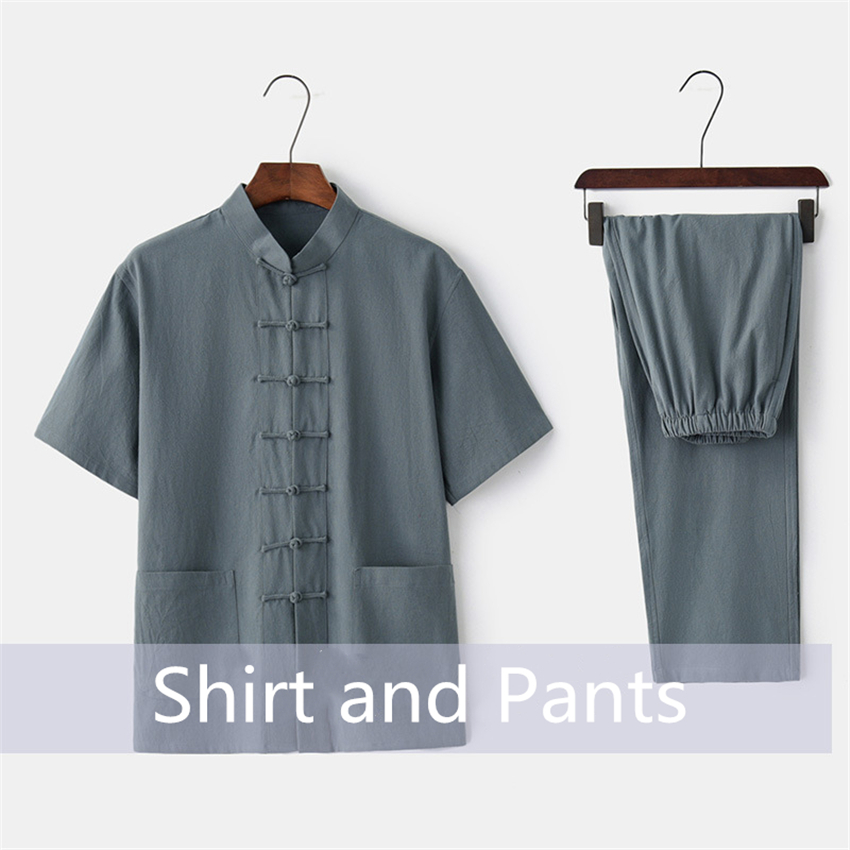 Chinese Traditional Clothing Set Man Summer Linen Buckle Kung Fu Shirt Oriental Retro Top Pants Tai Chi Breathable Uniforms