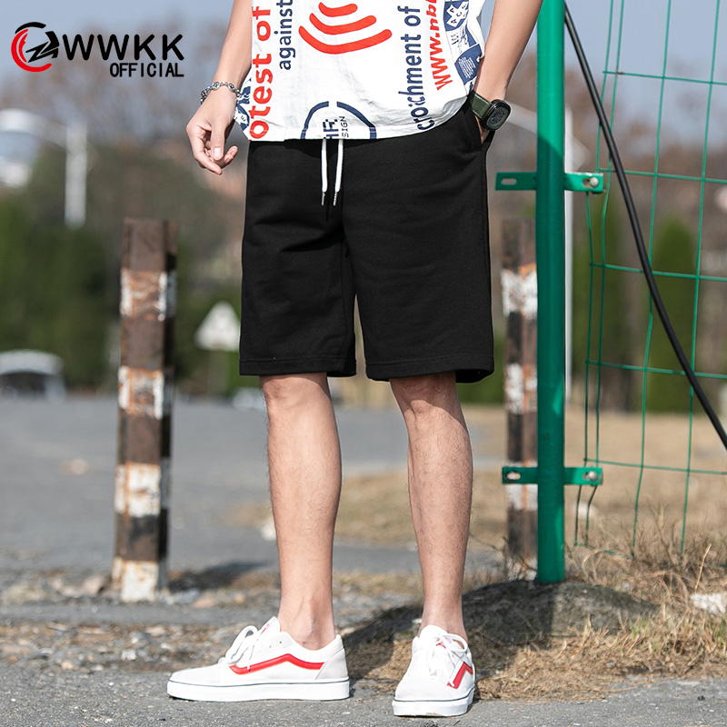 WWKK 2020 Summer New Polyester Shorts Loose Men's Casual Shorts Black Gray Drawstring Waist Bermuda Shorts Men Plus Size 3XL