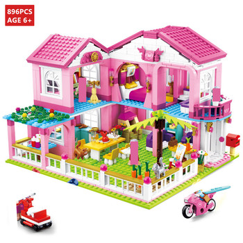 City House Big Garden Villa Castle Yacht Building Blocks Sets Friends Princess Figures Creator Bricks Educational Toys For Girls