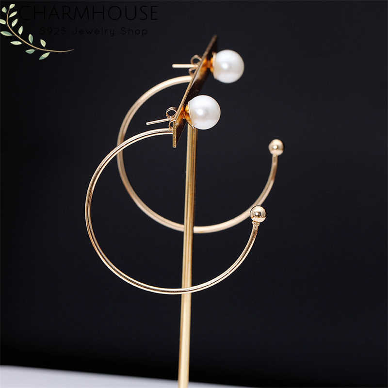 Charmhouse Hoop Earrings For Women Stainless Steel Gold Color Big Hoop Pearl Earing Brincos Wedding Bridal Jewelry Wholesale