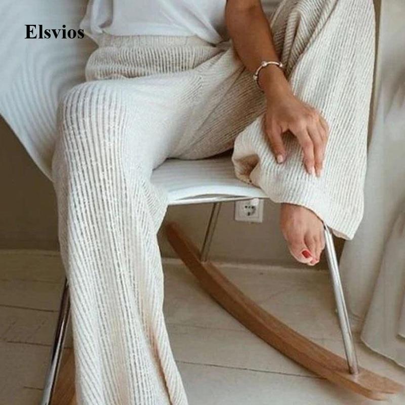 5XL Spring Wide Leg Solid Trousers Homewear Elegant Women High Waist Pants Sleepwear Casual Knitted Loose Soft Pajama Long Pants