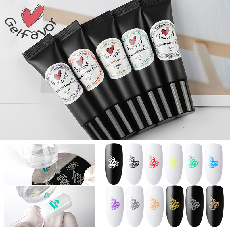 Gelfavor Stamping Gel Nail Polish Need Stamp Plate Semi Permanent UV LED Lamp For Manicure Set Gel Varnishes Lacquer