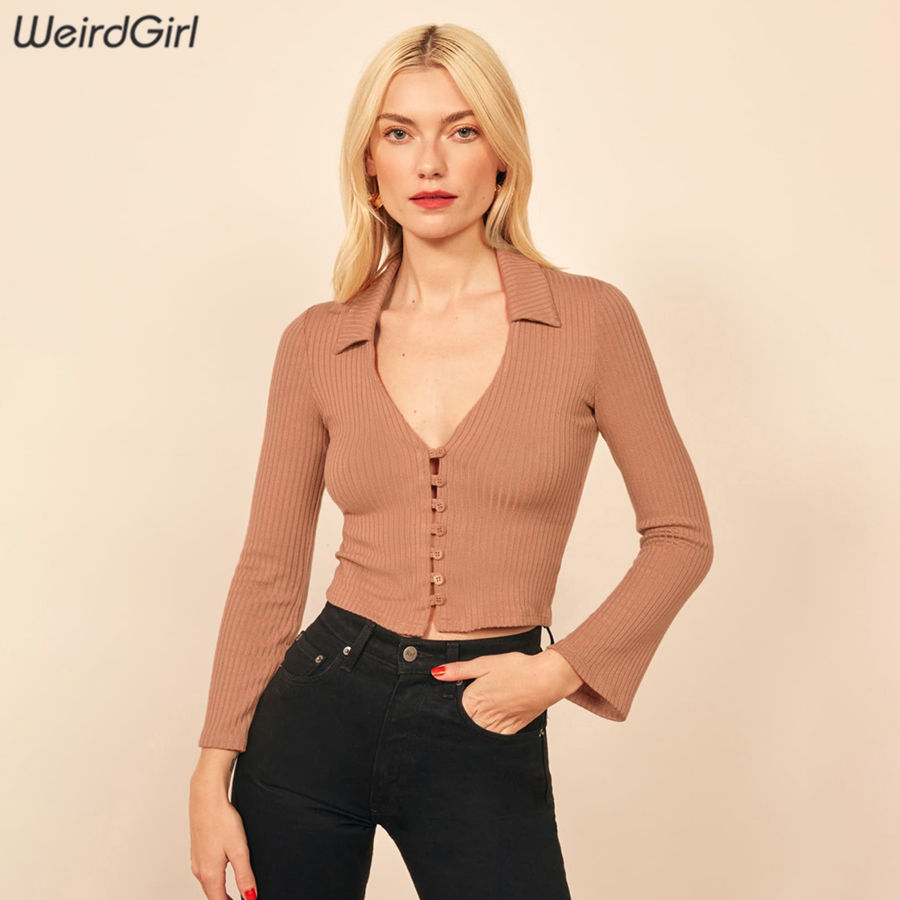 Weirdgirl Women Casual Fashion Tshirts Long Sleeve Knitted Sweater Slim Crop Cardigan Femme Stretchy Basic Tees 2020 New Sping