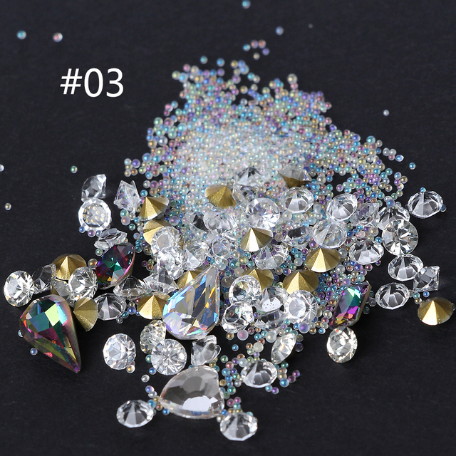 DIY Mixed Cone Point Rhinestone for Epoxy Resin Mold Craft DIY Clear Crystal Mini Glass Beads Balls Jewelry Making Components