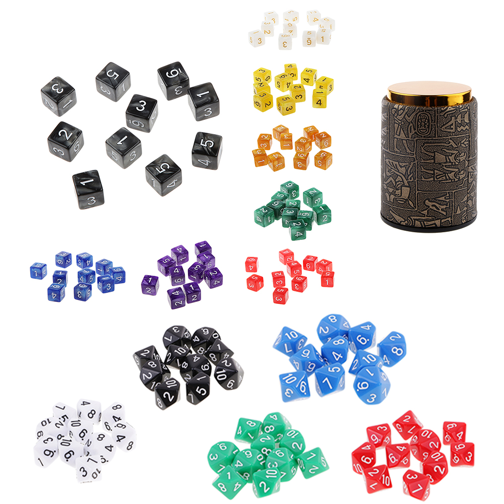 10pcs/set D6 D10 Game Board Game Dice Party Gambling Dices Game Digital Colorful Multi Sides Polyhedral Dices