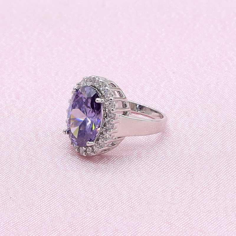 925 silber Schmuck Sets Für Frauen Hochzeit Lila Zirkonia Ohrringe Halskette Ring Braut Mode Schmuck Freies Geschenk Box