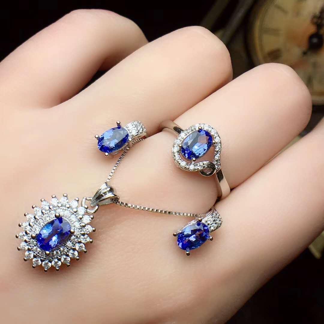 Real Natural Tanzanite jewelry set Natural Real Tanzanite 925 sterling silver 1pc pendant,1pc ring,2pcs Earring