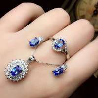 Real Natural Tanzanite jewelry set Natural Real Tanzanite 925 sterling silver 1pc pendant,1pc ring,2pcs Earring