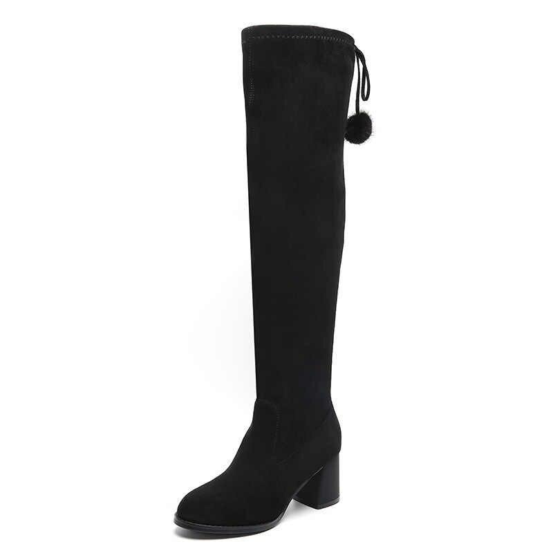 สูงยืดหยุ่น Overknee รองเท้าผู้หญิงรองเท้าบูทสูงรองเท้าผ้าพันแผลด้านหลัง