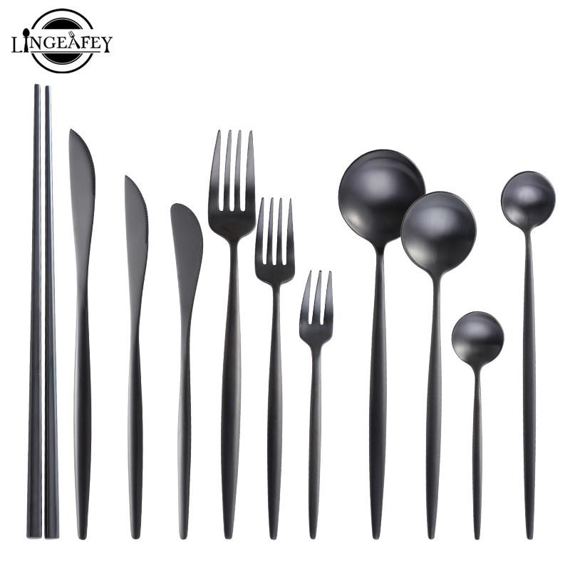 Матовый черный набор столовых приборов из нержавеющей стали, столовые приборы, набор кухонных столовых приборов, столовые приборы, ложка, вилка, нож, палочки для еды|Столовые сервизы|   | АлиЭкспресс - Посуда для кухни с алиэкспресс