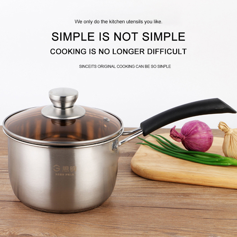 18cm Nonstick Milk Pot Composite Steel Single Handle Soup Stew Pot Super Thick Polished Non-magnetic Bottom Pan Ramen Pots N