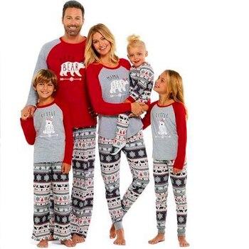 Papa Bear Mama Baby Christmas Pajamas Family Matching Clothes Outfits Mother and Daughter 100% Cotton Pyjamas