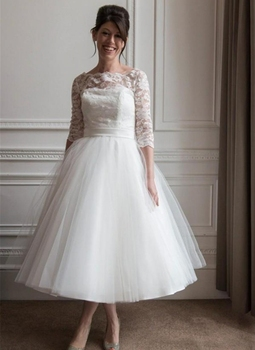 New Short Wedding Dresses Lace Tulle Country Bridal Gowns Sheer Neck Sleeves Stunning Tea Length Wedding Dress