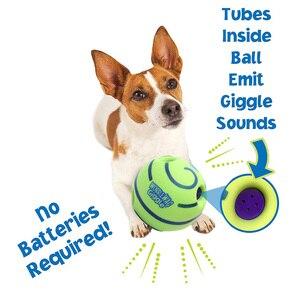 Image 1 - Grappig Geluid Honden Spelen Bal Wobble Wag Giggle Kauwen Bal Puppy Training Bal Met Grappige Geluid Gift Huisdier Speelgoed levert