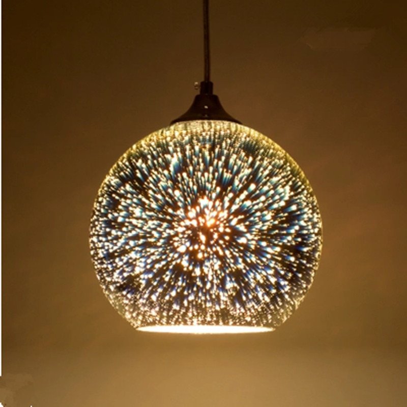 Classic Design Led Lamp Pendant Light Diameter 15/20cm 3d Colorful Plated Glass Mirror Ball Hanging Light Fixture Hanging Lamp