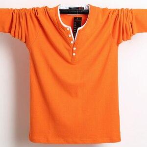Image 2 - 2020 秋男性tシャツボタンビッグトール綿長袖tシャツ男性ビッグサイズカジュアルtシャツ固体 5xl 6xlフィットtシャツトップ男性