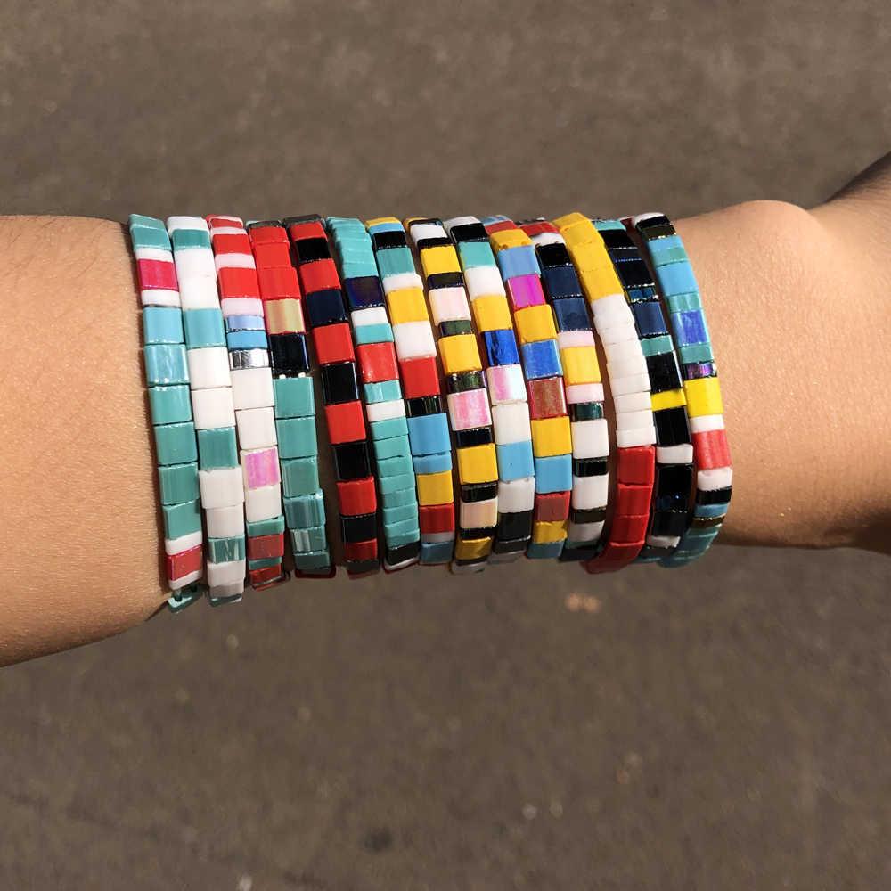 KBJW nowy cegły koraliki bransoletka dla kobiet Miyuki bransoletka japonia Tila koraliki bransoletka lato plaża biżuteria Pulseras Mujer Moda 2019