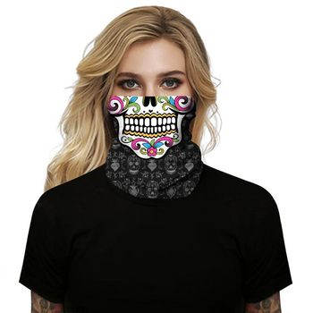 Skeleton Skull Bandana Halloween Neck Half Face Mask Cycling Scarf Headband Ski Sport Hiking Scarves bjmoto cool skeleton skull motorcycle ski headband sport outdoor neck face mask mtb racing cycling windproof scarf balaclava