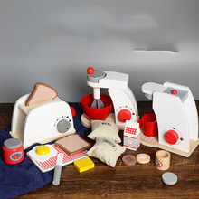 Kids Wooden Pretend Play Sets Simulation Toasters Bread Make