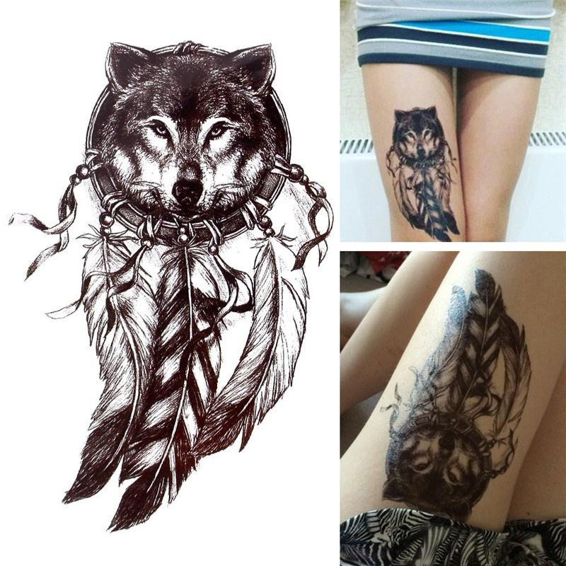 Fake Tattoo 21*14.8CM Women Men Cute Sexy Body Art Beauty Owl Fox Wolf Makeup Waterproof Temporary Tattoo Stickers