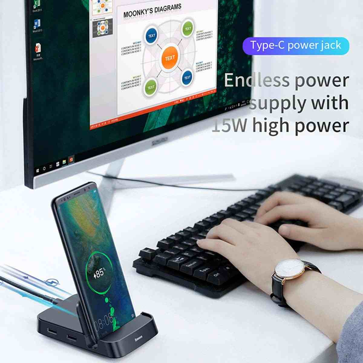 Baseus 15W USB نوع C محور قاعدة لتثبيت الكمبيوتر المحمول لسامسونج S10 ل Dex سادة محطة USB إلى HDMI حوض الطاقة محول لهواوي P30 P20 برو