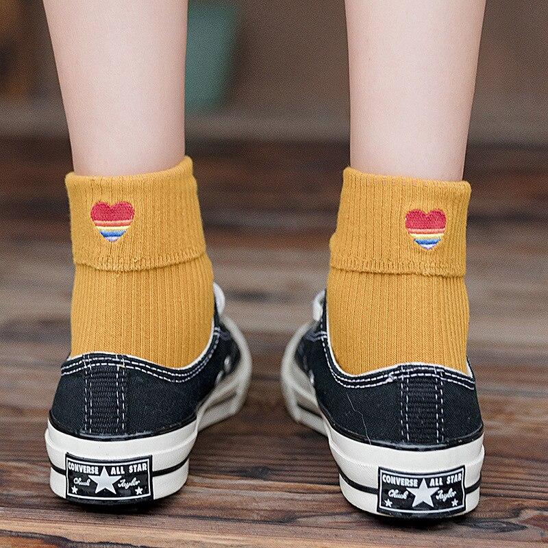 Fashion Socks Solid Color Cartoon Heart 2019 New Women Socks Cotton Autumn Cute Heart Breathable Fashion Sports Socks Women