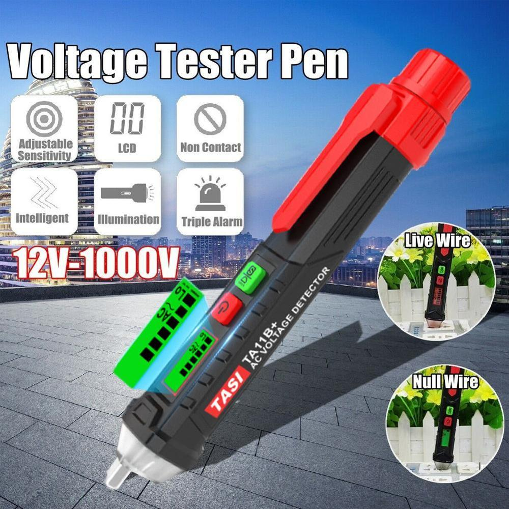 Non-contact AC/DC Voltage Detector Tester Meter 12V-1000V Pen Style Voltage Detector LCD Alarm Self-testing