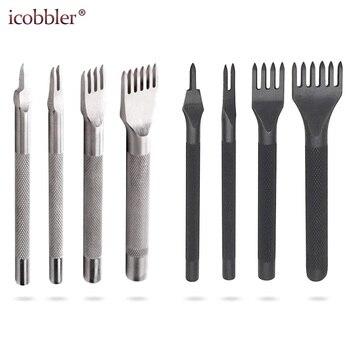 Herramientas para manualidades de cuero perforadores de encaje punzón de costura 1 + 2 + 4 + 6 puntas para costura cincel Set Kits de trabajo de cuero 3/4mm