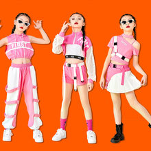 2021 Pink Hip Hop Clothing Kids Stage Costume Tops Vest Pants Girls Jazz Performance Outfit Cheerleader Dance Costume DNV14383
