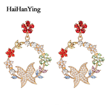 Fashion Flowers Glamour Butterfly Womens Hanging Geometric Exaggerated Earrings Luxury Jewelry Personality Statement