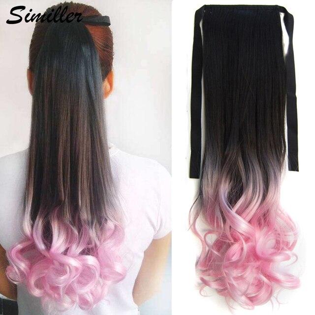 Similler bouclé enroulé autour de queue de cheval Extension de cheveux pour les femmes synthétique cheveux pièce Ombre noir T rose