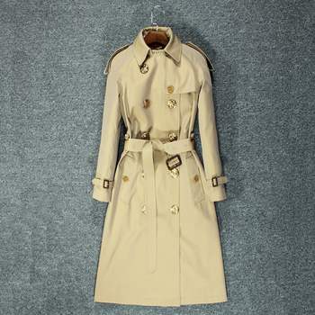 2020 new trench coat women's long British style slim coat 1