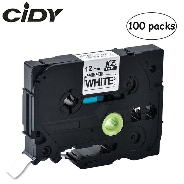 100 Uds p touch tz231 tze231 12mm en blanco y negro de la cinta de etiqueta tze 231 tz 231 para impresora hermano tze131 431, 531, 631, 731