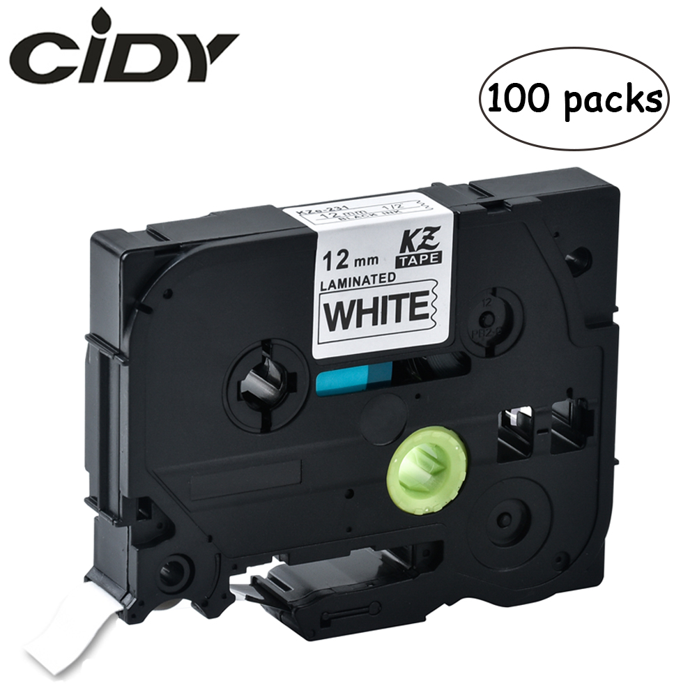 100pcs P-touch Tz231 Tze231 12mm Black On White Label Tape Tze-231 Tz-231 For Brother Printer Tze131 431 531 631 731