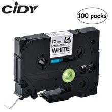 100pcs p touch tz231 tze231 12mm Black on white label tape tze 231 tz 231 for brother printer tze131 431 531 631 731
