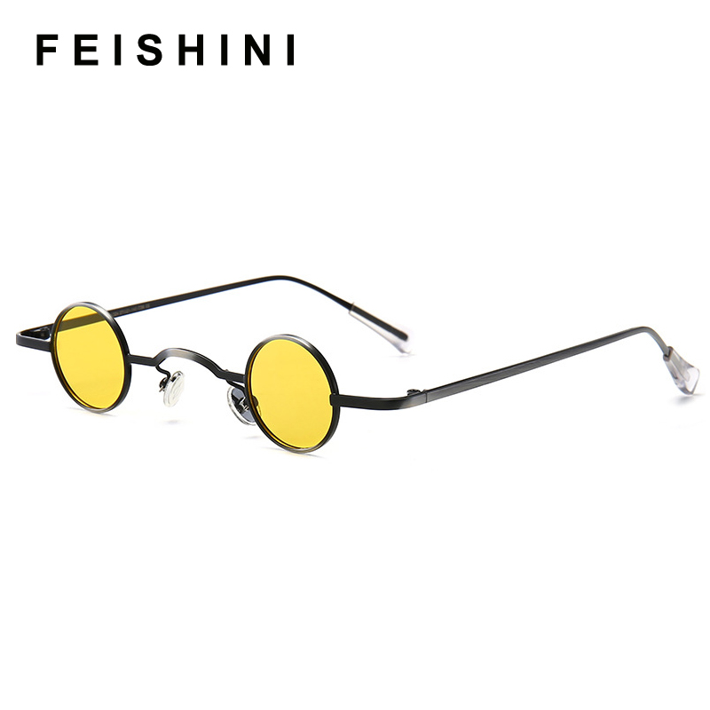 FEISHINI 2020 Classic Vintage Gothic Vampire Polarized Round Sunglasses Men Small SteamPunk Brand Design Glasses Oculos De Sol
