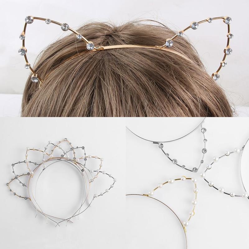 New Fashion Alloy Rhinestones Cute Cat Ear Headband Fashion Women Girls Hair Band Accessoriess Silver/Golden