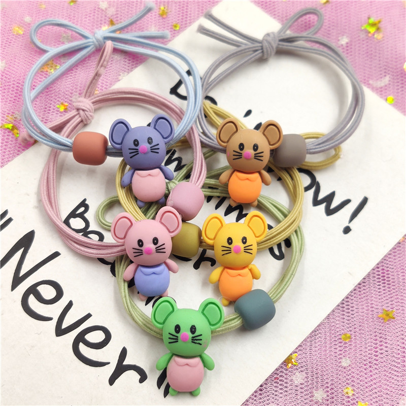 1PCS Lovely Cartoon Mouse Color Elastic Hair Bands Toys For Girls 5cm Handmade Creative Scrunchy Kids Hair Accessories For Women