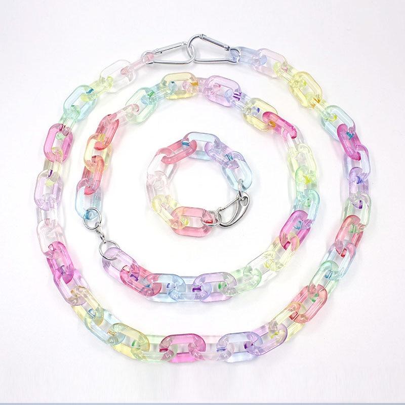 Punk Color Unisex Choker Necklace Harajuku Hip Hop Fashion Jean Chain Bracelet Belt  Accessry Streetwear CL216