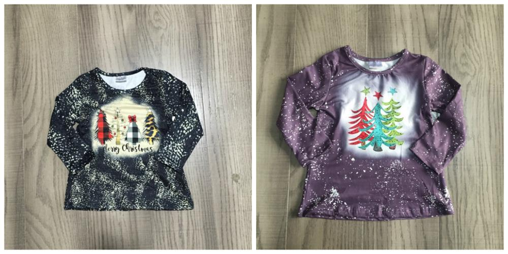 Girlymax merry Christmas tree Fall/winter grey plum tie dyed tie knot cotton top long sleeve t-shirt baby girls raglans boutique 1