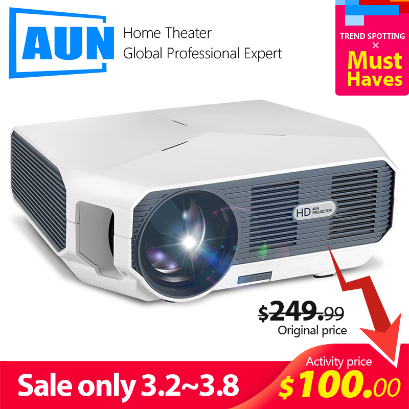 AUN LED Projector ET10  3800 lumen  1280x720P  Optional Mirroring   Android WIFI Projector  Support 1080P Video 3D MINI beamer