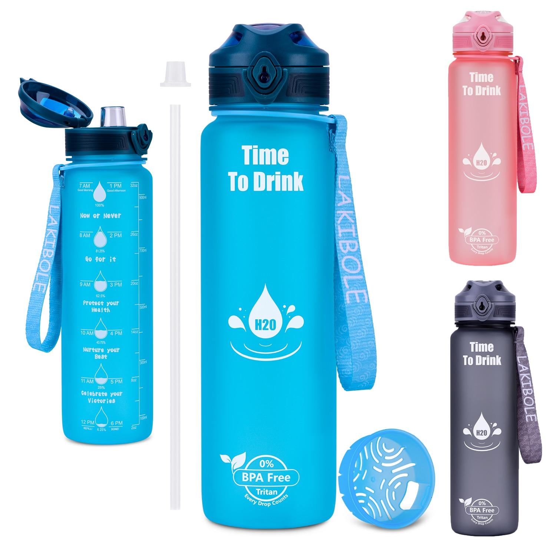 Бутылка для воды спортивные 1000 мл Бутылочка для питья с соломенная шляпа для отдыха на открытом воздухе Портативный герметичные стены Плас...