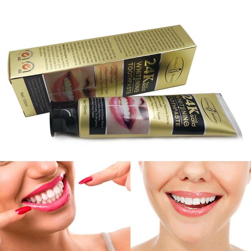 Большая емкость 100 г 24 к Золотая зубная паста уход за зубами пятна дыма освежитель дыхания мундгард зубная паста отбеливание полости рта