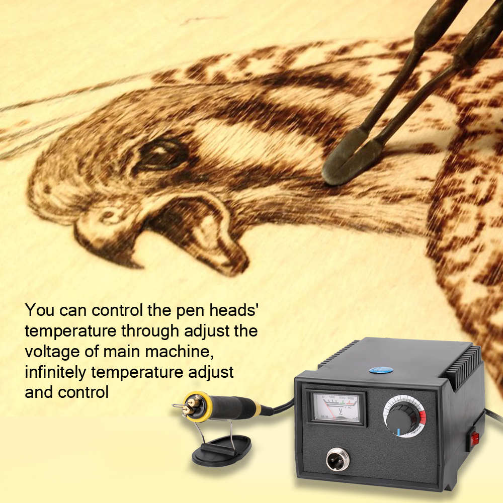 Hot Multifunctional Electric Gourd Wooden Pyrography Machine Pointer Instrument Laser Engraver With 23pcs Heating Pen Heads