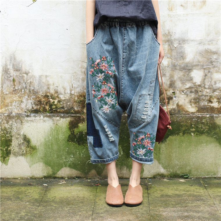 Women Baggy Low Crotch Denim Pants Plus Size Elastic Waist Floral Embroidered   Jeans   Hip Hop Oversized Harem Trousers Boyfriend