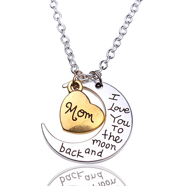 I Love You To The Moon and Back Mom Pendant Necklace Mothers Day Birthday Gift