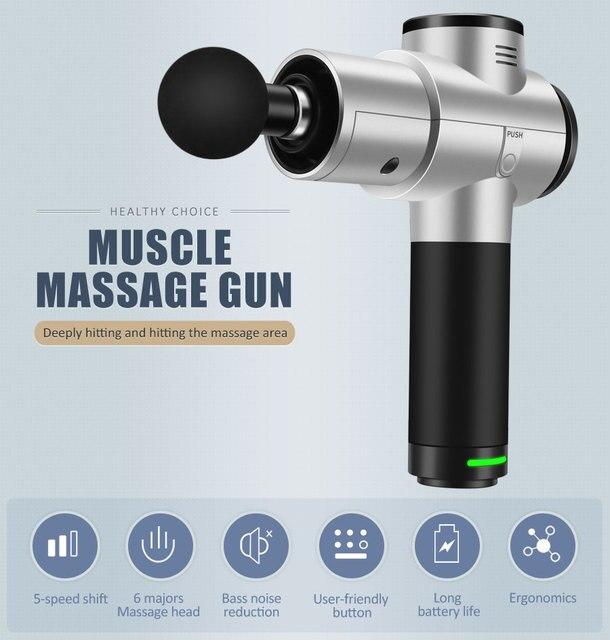 Massage Gun, Handheld Tiefe Gewebe Massager für Schmerzen Relief, Percussion Massage Gerät mit Einstellbarer Geschwindigkeit Vibration Ebenen