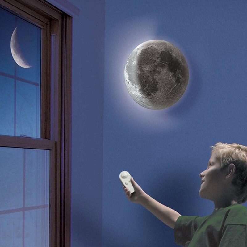AA Battery Remote Control LED Healing Moon Night Light Bedroom Decor Wall Lamp New Strange Novetly Lighting Gift For Kids